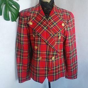 Vtg Rafaella Red Tartan Double Breasted Jacket